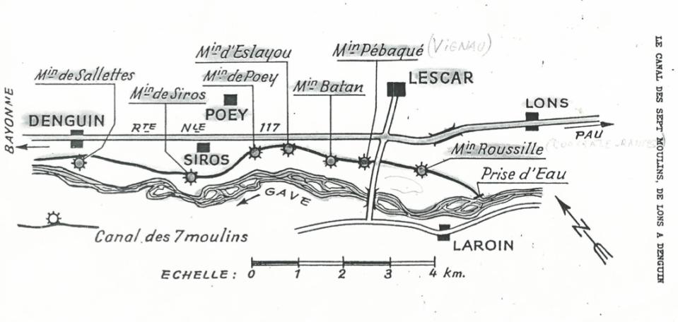 Le Canal des Sept Moulins de Lons à Denguin (J. Lartigue 1968)