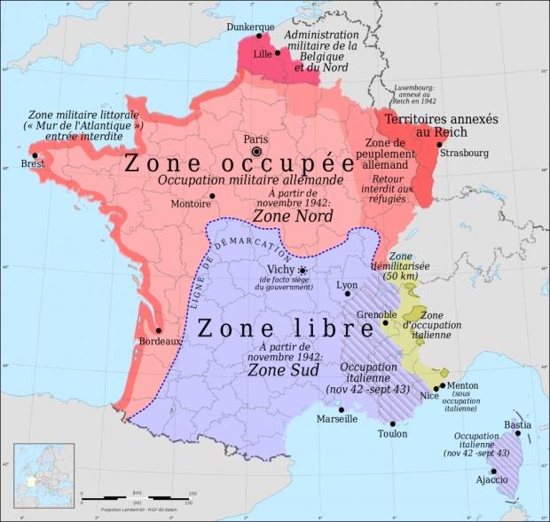 Zone libre et zone occupée en 1942